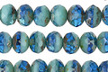 Czech Glass Mykonos Blue Picasso Fire Polished Rondelle 5x7mm