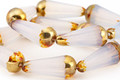 Czech Glass Opal w/ Gold Picasso Finish Faceted Teardrop 20x8mm