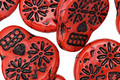 Czech Glass Retro Red Chili Sugar Skull 20x17mm