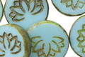 Czech Glass Turquoise Picasso Lotus Coin 18mm