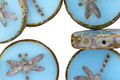Czech Glass Alice Blue Picasso Dragonfly Coin 17mm