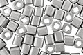 TOHO Metallic Silver Frosted Antique Silver Cube 4mm Seed Bead