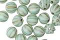 Czech Glass Mint Green w/Gold Melon Round 6mm