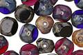 Czech Glass Jumble Berry Pie w/ Picasso Finish Triple Cut Round 8mm