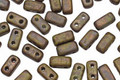 CzechMates Glass Opaque Olive Copper Picasso 2-Hole Brick 3x6mm