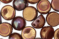 CzechMates Glass Bronze Luster Iris Opaque Red 2-Hole Cabochon 7mm