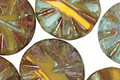 Czech Glass Lemon Sky Flower Window Coin 18mm