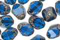 Czech Glass Capri Blue Etched Bicone 10x8mm