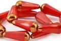 Czech Glass Red Pepper w/ Gold Faceted Teardrop 20x8mm
