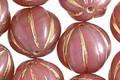 Czech Glass Desert Rose w/ Gold Melon Round 14mm