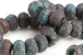 Czech Glass Matte Dark Bronzed Turquoise Large Hole Fire Polished Rondelle 8x12mm