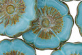 Czech Glass Blue Green Picasso Hibiscus Coin 22mm