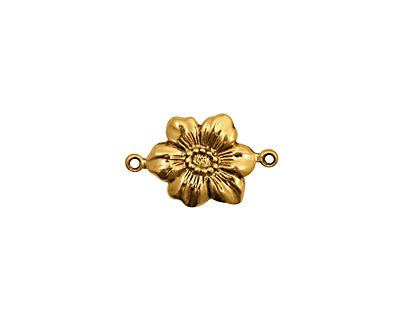 Stampt Antique Gold (plated) Clematis Connector 17x10mm