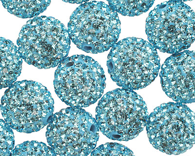 Aquamarine Pave (w/ Preciosa Crystals) Round 12mm
