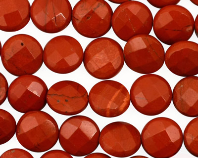 Red Jasper Faceted Coin 10mm