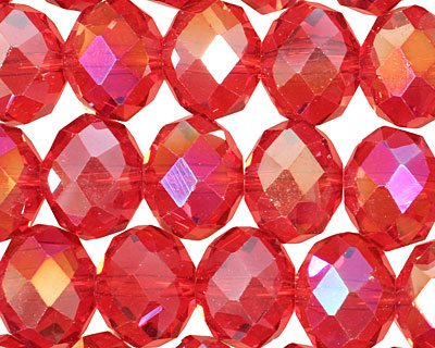 Ruby AB Crystal Faceted Rondelle 14mm