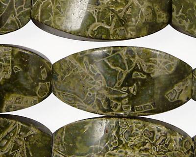 African Green Jasper 4-Sided Rice 30x15mm