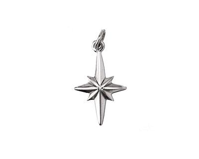 Nina Designs Sterling Silver North Star Charm 12x22mm