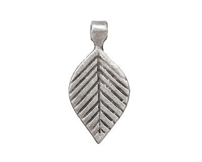Greek Pewter Small Linear Leaf Drop 14x29mm