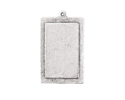 Nunn Design Antique Silver (plated) Raised Tag Vertical Rectangle Pendant 25x41mm