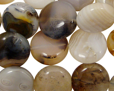 Mexican Gray Agate Puff Coin 15mm