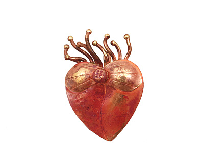 Patricia Healey Copper Flaming Heart Pendant 18x28mm