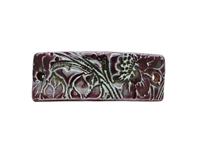 Earthenwood Studio Ceramic Amethyst Floral Scroll Bracelet Bar 44-46x15-16mm