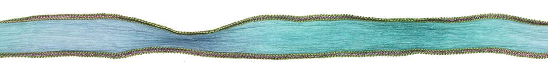 Powder Blue-Green Blend w/ Pink Metallic Edges Hand Dyed 100% Silk Ribbon 1/2