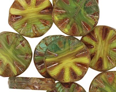 Czech Glass Lemon Lime Flower Window Coin 18mm