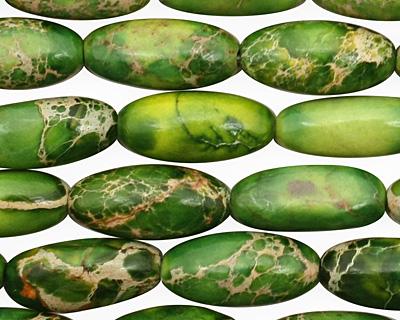 Green Impression Jasper Rice 15x7mm