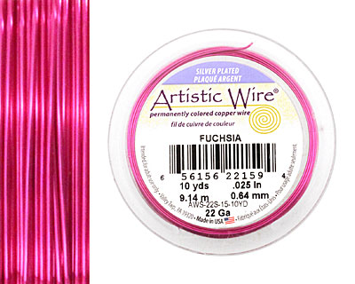 Artistic Wire Silver Plated Fuchsia 22 gauge, 10 yards