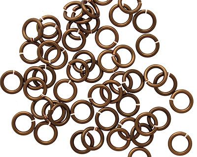 Vintage Bronze Enameled Copper Round Jump Ring 6mm, 18 gauge