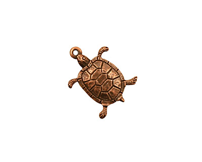 Stampt Antique Copper (plated) Turtle Charm 12.5x17mm