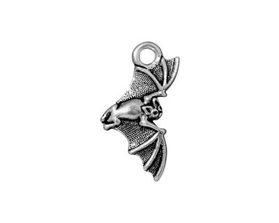TierraCast Antique Silver (plated) Bat Charm 12x23mm