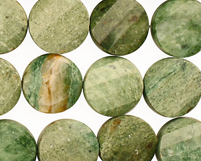 Green African Opal Faceted Twisted Coin 14mm