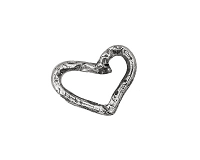 Rustic Charms Sterling Silver Small Heart Link 20x15mm
