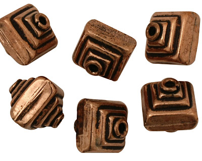 Antique Copper Stacked Squares 14x12mm