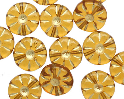 Czech Glass Amber Gilded Gold Daisy Coin 12mm