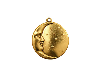 Stampt Antique Gold (plated) Man in the Moon Charm 17x19mm