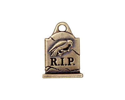 TierraCast Antique Brass (plated) Grave Stone Charm 15x20mm