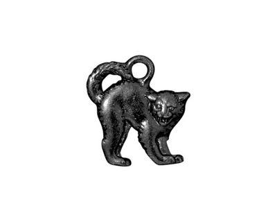 TierraCast Gunmetal Scary Cat Charm 17x18mm