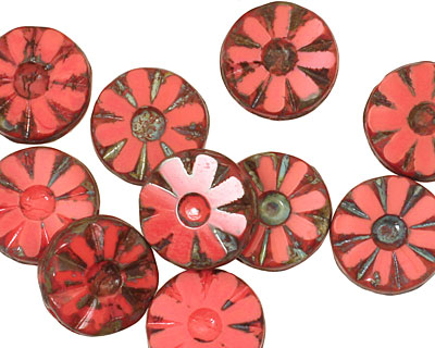 Czech Glass Pink Silk Flower Window Coin 12mm