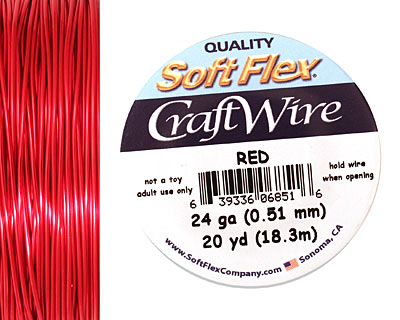 Soft Flex Red Craft Wire 24 gauge, 20 yards