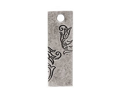 Nunn Design Antique Silver (plated) Large Rectangle Vine Tag 10x30mm