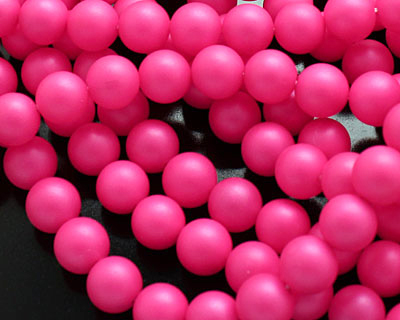 Neon Pink Shell Pearl Round 8mm