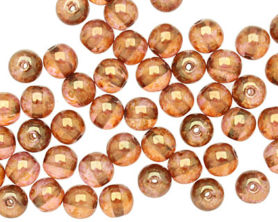 Czech Glass Luster Rose/Gold Topaz Round 6mm