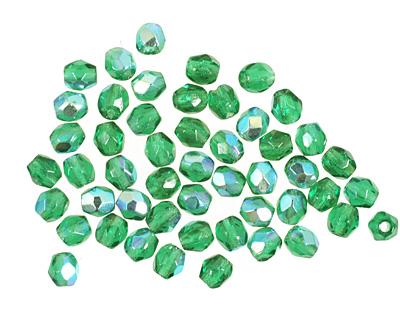 Czech Fire Polished Glass Emerald AB Round 3mm