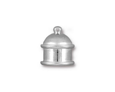 TierraCast Rhodium (plated) Pagoda 10mm Cord End 15.5x14mm