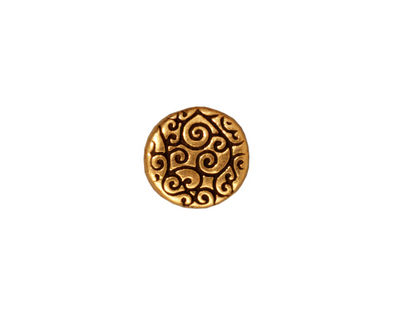 TierraCast Antique Gold (plated) Round Scroll Bead 12mm