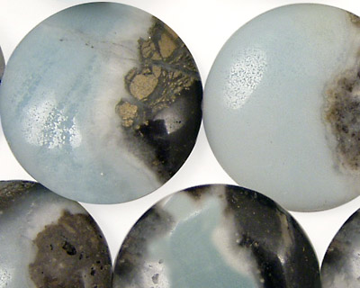 Black Gold Amazonite Puff Coin 25mm